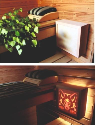Ekologinen ja kotimainen valaisin saunaan